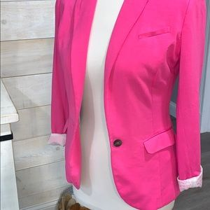 Hot pink blazer with striped lining